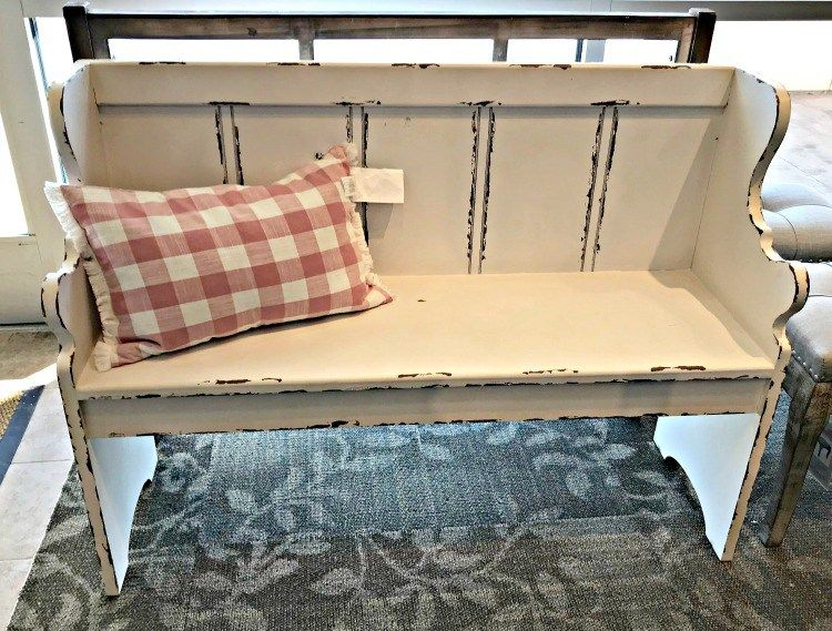 White Distressed Farmhouse Entry Bench With Carved Arms This Months Furniture Design I Furniture Design Diy Furniture Redo Thrift Store Furniture Makeover Diy