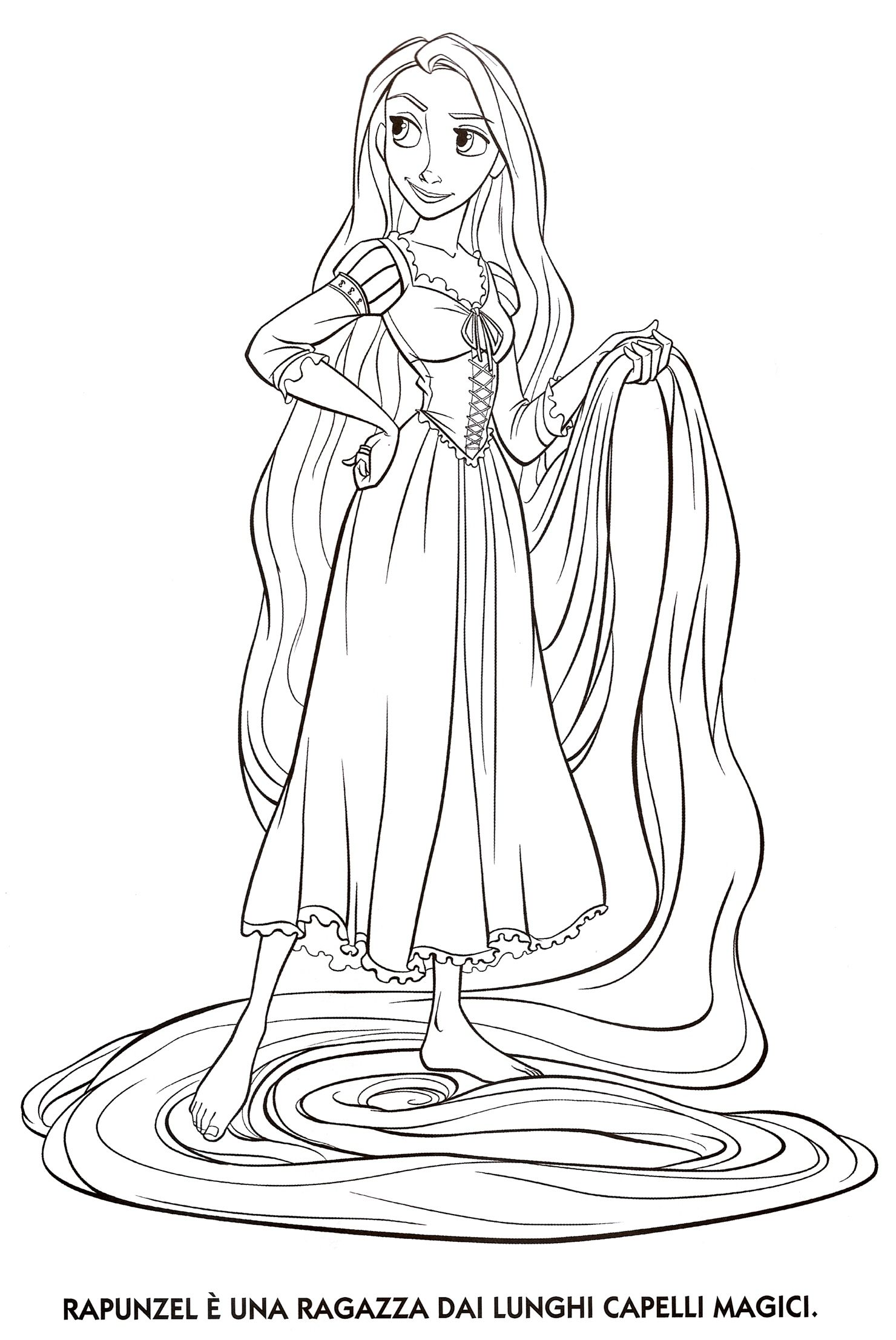 Colorare Rapunzel.Rapunzel Coloring Page Easy For Kids Coloring Pages Pagine Da