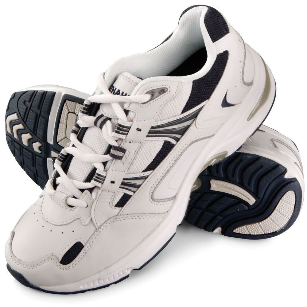 The Gentlemen's Plantar Fasciitis Orthotic Walking Shoes - Hammacher Schlemmer - Designed by a podiatrist, these are the walking shoes that help to combat the effects of plantar fasciitis with a stabilizing orthotic footbed that realigns your feet to a neutral position.