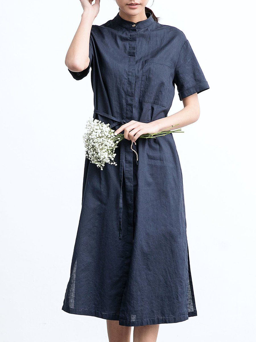 Adorewe stylewe midi dresses designer zimo stand collar simple