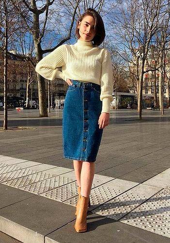 Saia Jeans Midi: 25 Inspirações para Começar a Usar Essa Peça Hoje Mesmo! #modestfashion