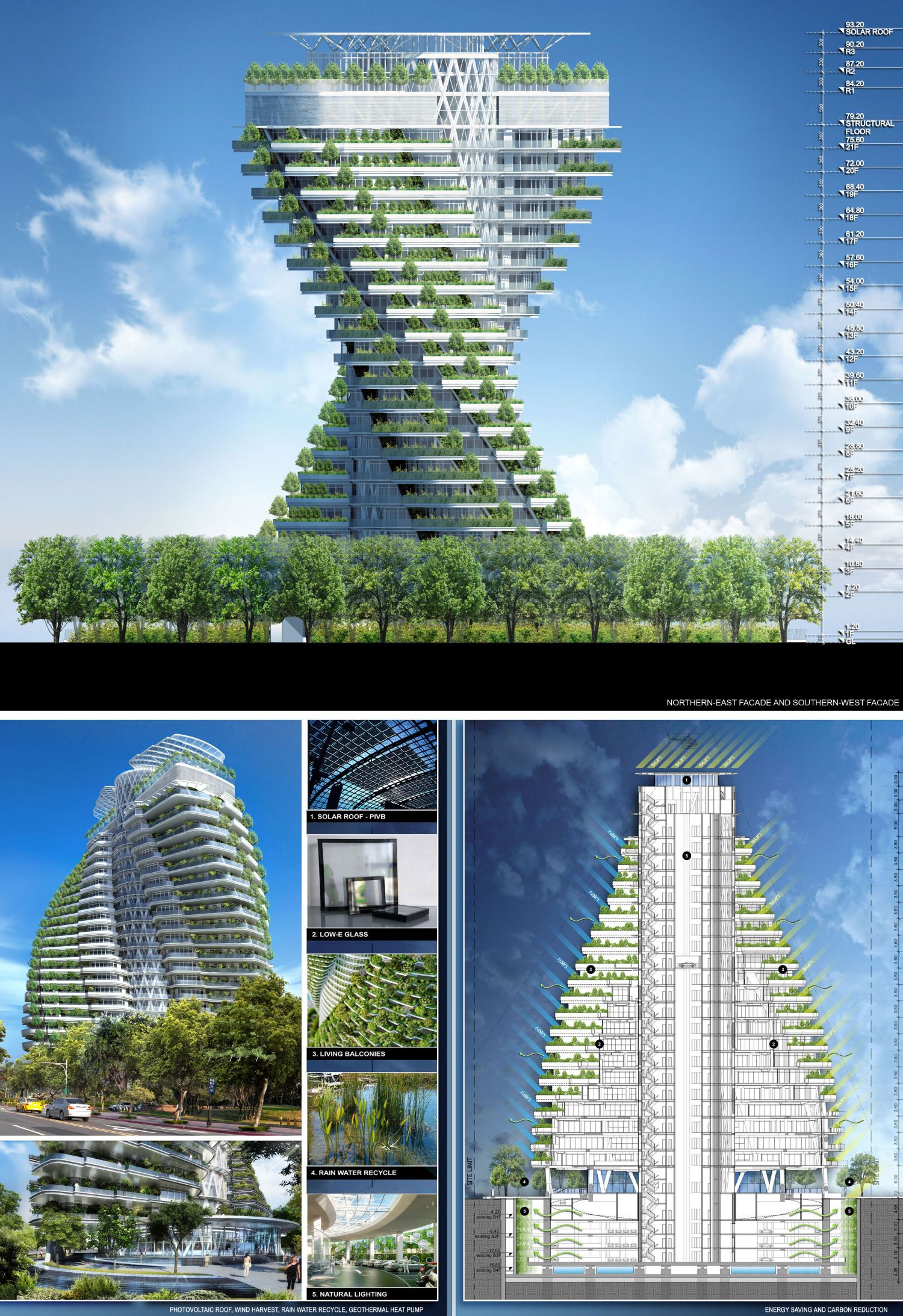 Sustainable Building Agora Garden Vincent Callebaut - 384ft tall apartment will be the worlds first building to be covered in evergreen trees