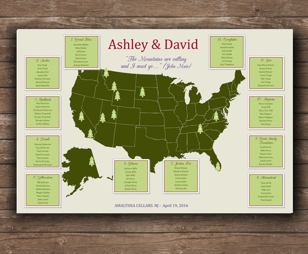 Us National Parks Wedding Seating Chart Unique Seating Plan Printable File National Parks Map Unique Seating Chart Wedding Seating Chart Wedding Wedding Seating
