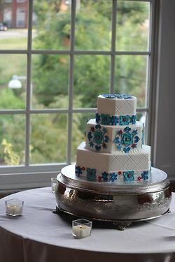 Three tier Turkish inspired wedding cake by Cinda's Creative Cakes at The Cotton Room www.thecottonroomdurham.com #triangleweddings