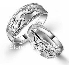 2PC SET STERLING SILVER WOMEN MENS WEDDING RINGS DRAGON PHOENIX