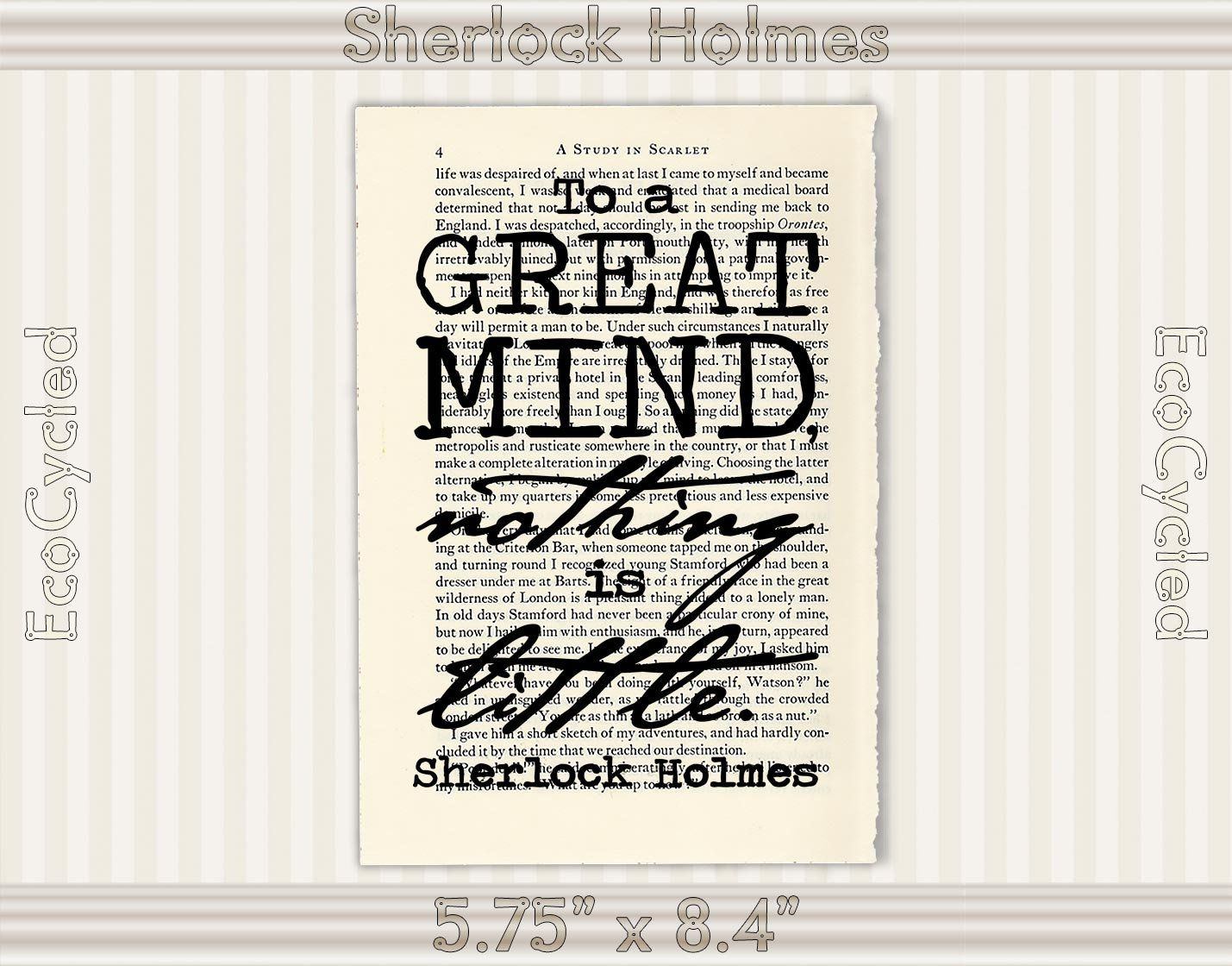 Sherlock Holmes Great Mind Nothing is Little 7 Vintage Upcycled Dictionary Art Print Deductive Logic Reason literary gifts for writers