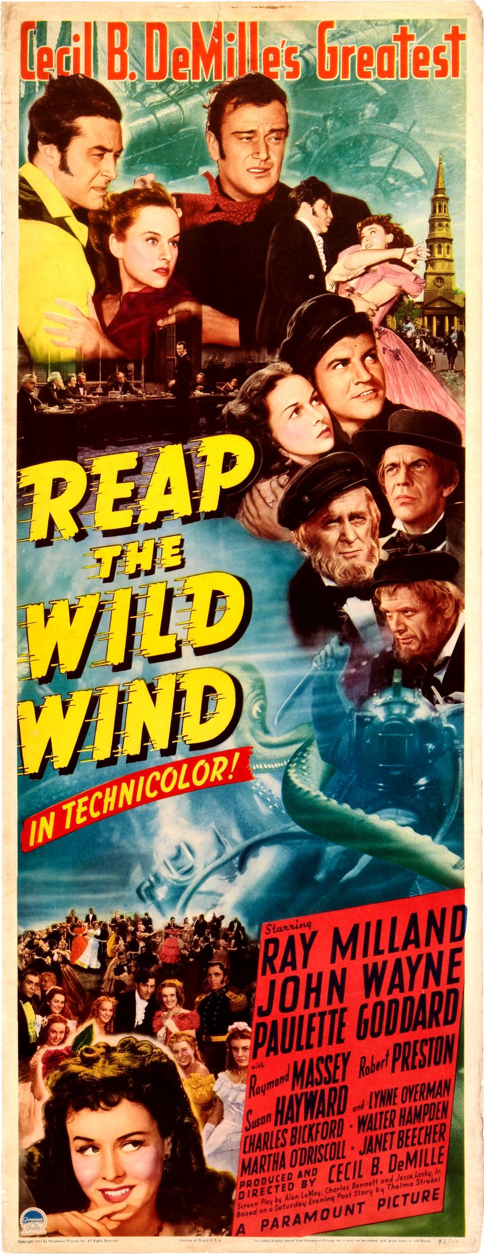 """Reap The Wild Wind (1942) John Wayne, Robert Preston, Paulette Goddard, Ray Milland, Raymond Massey"