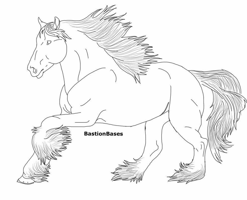 Free Clydesdale Mare Lineart By Bastionbases Deviantart Com On Deviantart Horse Coloring Pages Horse Coloring Coloring Pages