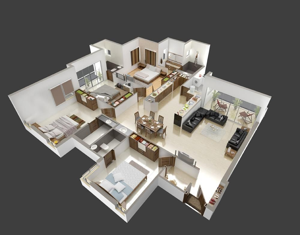 Pin by maria on 3d house plans floor plans pinterest for Home plans 3d designs