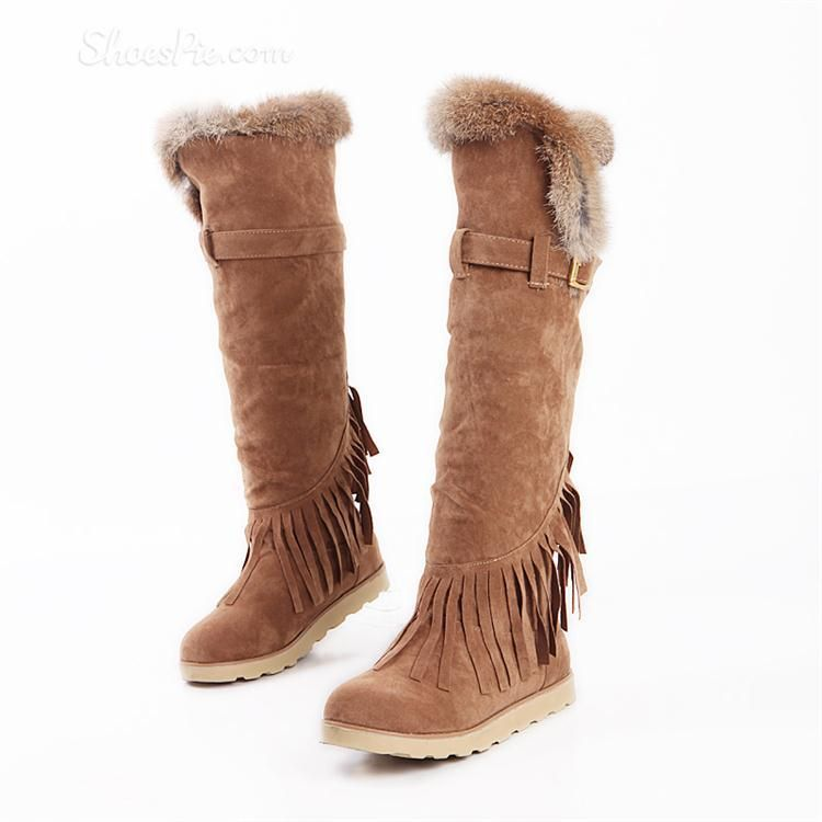 Comfortable and Warm Snow Boots with Cony Hair & Tassels