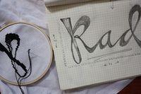Cross stitching.
