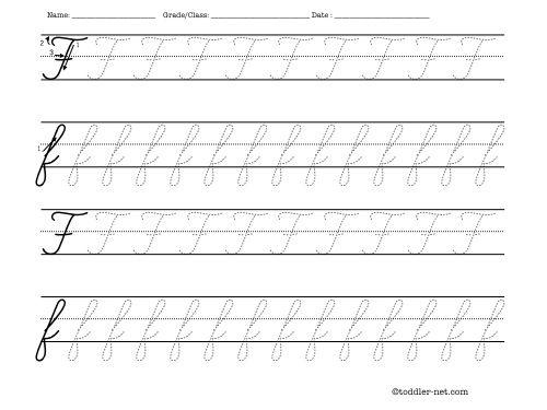 Cursive letter F worksheet for tracing – Cursive Letters Worksheet