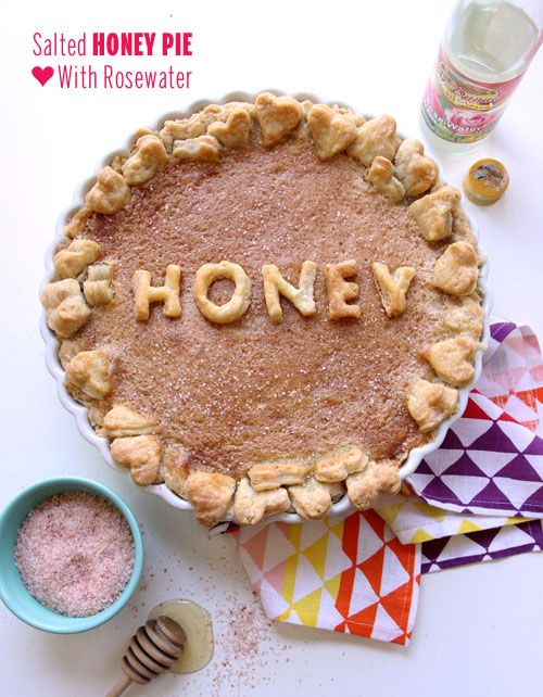 Salted Honey Pie with Rosewater
