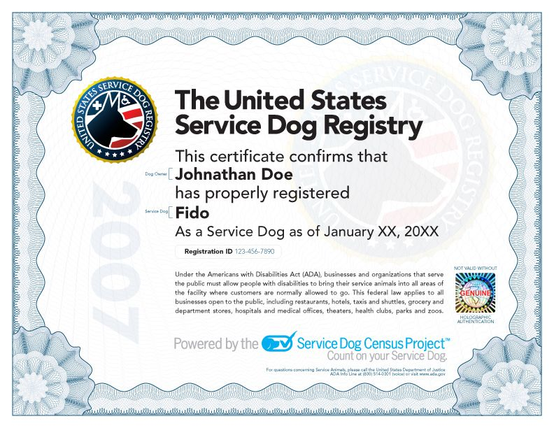 service animal certification | what does a service dog certificate
