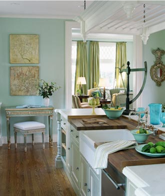 Love everything about this Turquoise kitchen wall color
