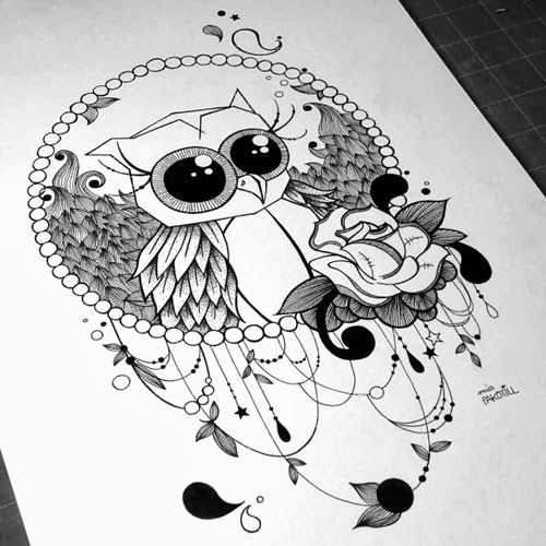 miss pakotill illustration hibou tattoos pinterest illustration tatouages et chouette. Black Bedroom Furniture Sets. Home Design Ideas