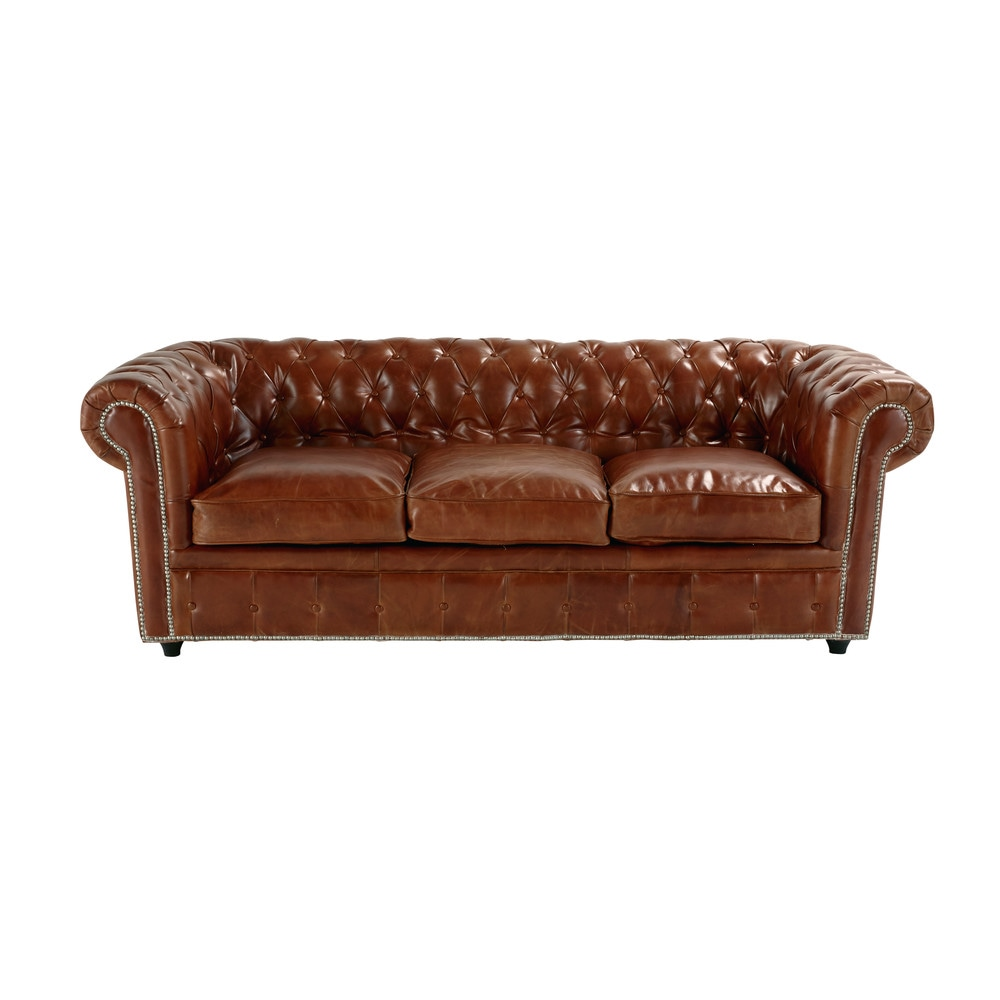Sofa Convertible Capitone De 3 Plazas De Cuero Marron Chesterfield