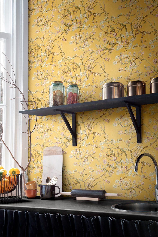 Yellow blossoming almonds Van Gogh chinoiserie art home wallpaper ...