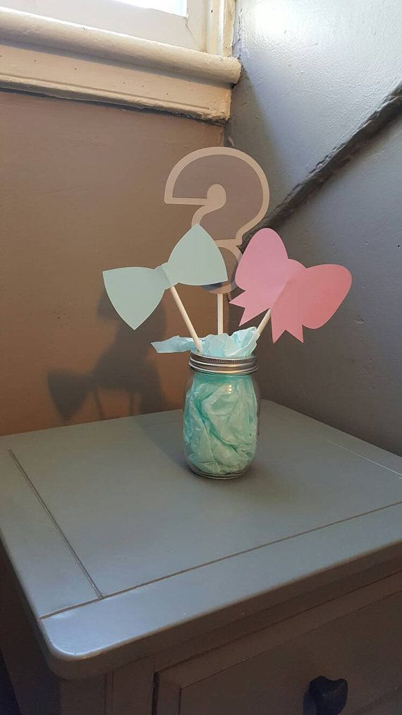 Gender Reveal Centerpieces Bows Vs Bow Ties By Moorethanaparty Gender Reveal Party