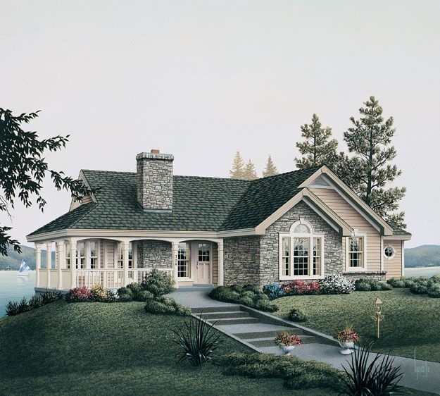 Lake Cottage House Plans: Great Ranch Style Design Great For Any Location.