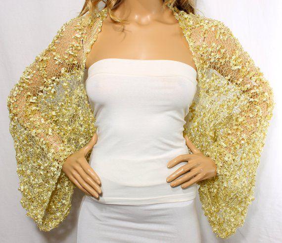 Wedding Shrug Knit Gold Shrug Cover Ups Shawls Wraps Long Sleeve