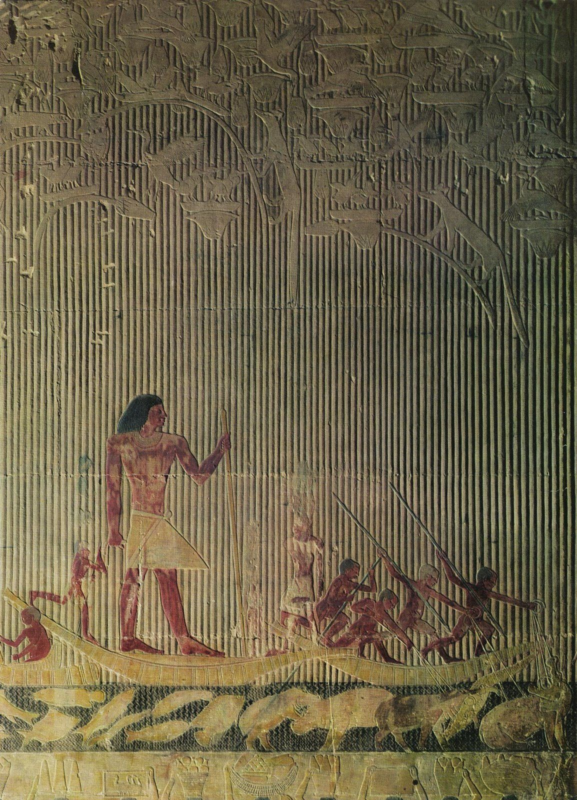 Ti Watching a Hippopotamus Hunt, Ancient Egyptian painting ...
