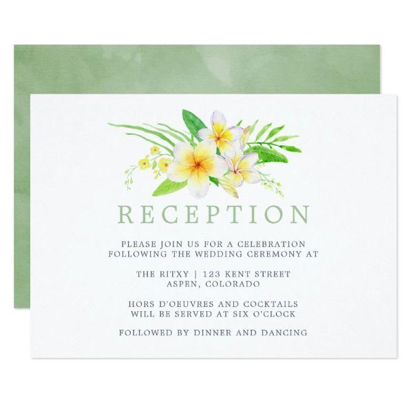 exotic watercolor frangipani wedding reception card