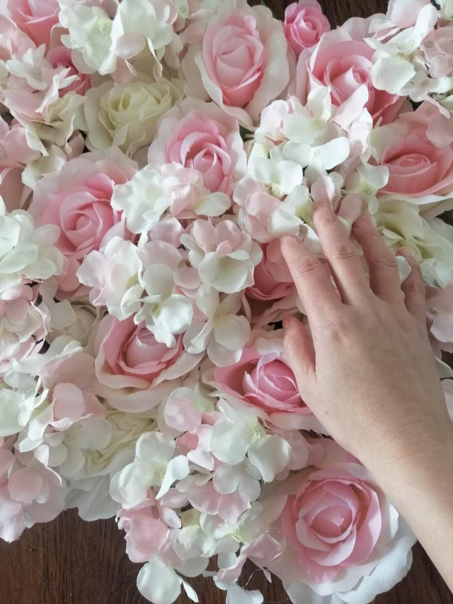 Baby Pink Wedding Flower Walls Wedding Backdrops Artifical Silk Rose Hydrangea Background For Romantic Wedding Photography Panels 40 60cm Flower Wall Wedding Baby Pink Wedding Pink Wedding Flowers