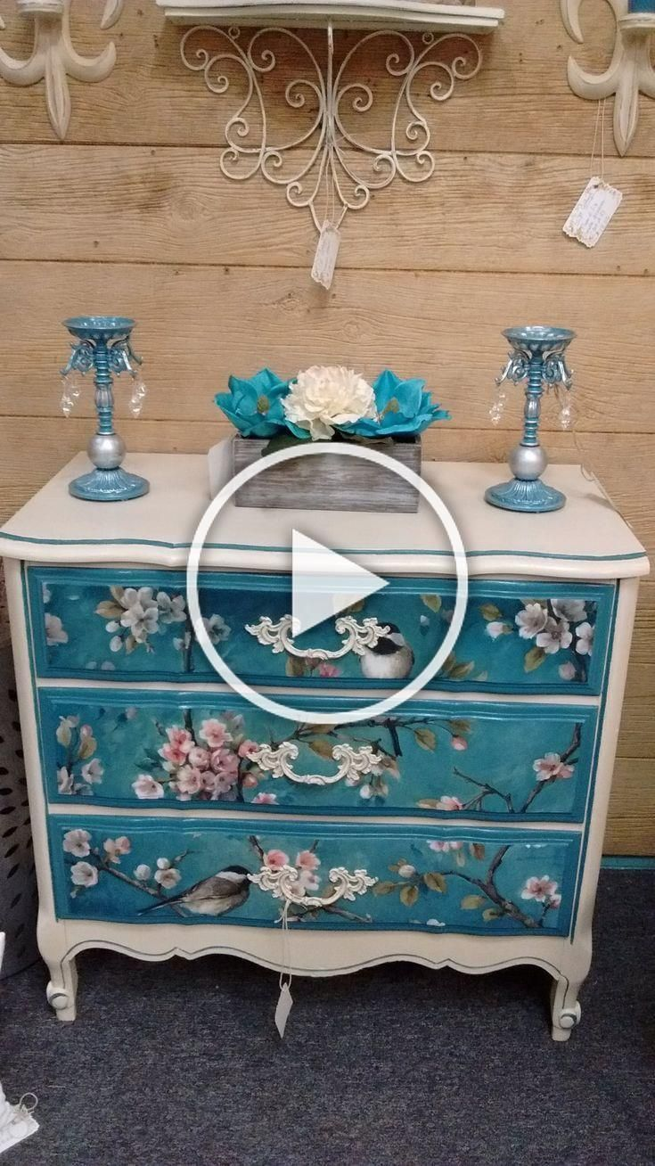 Shabby Chic Kommode Selber Machen Painted French Provincial Dresser With Painted/ Decoupaged ...