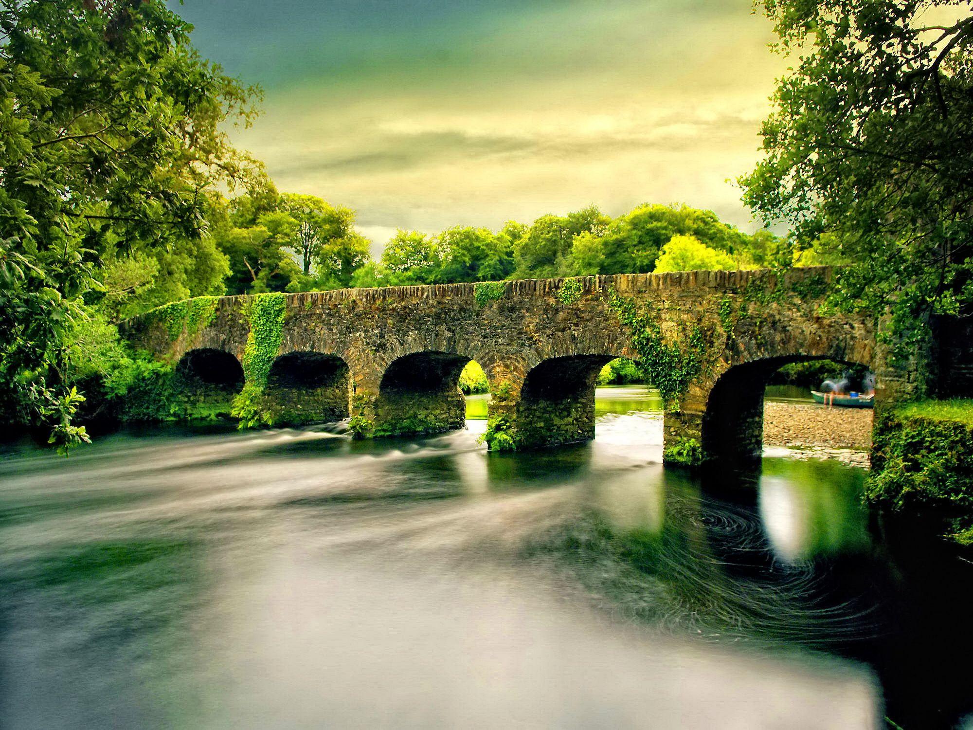 Hd wallpaper river - Hd Zen Wallpapers Y9350 Ireland County Kerry Stone Bridge Over Gearhameen River In