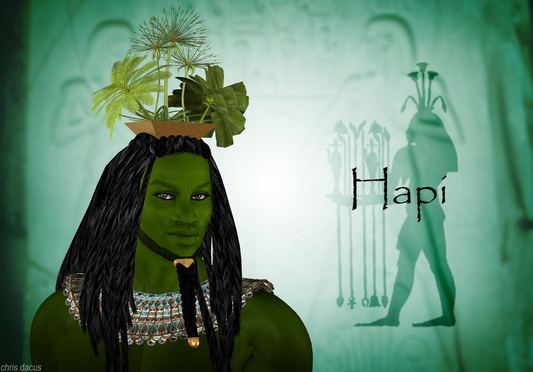 Hapi is the ancient Egyptian god of the Nile. He is ancient not only to us of the modern world, but to the Egyptians as well. He was portrayed as a man with women's breasts and protruding belly. The full breasts and stomach indicate fertility and his ability to nourish the land through the Nile's annual floods.
