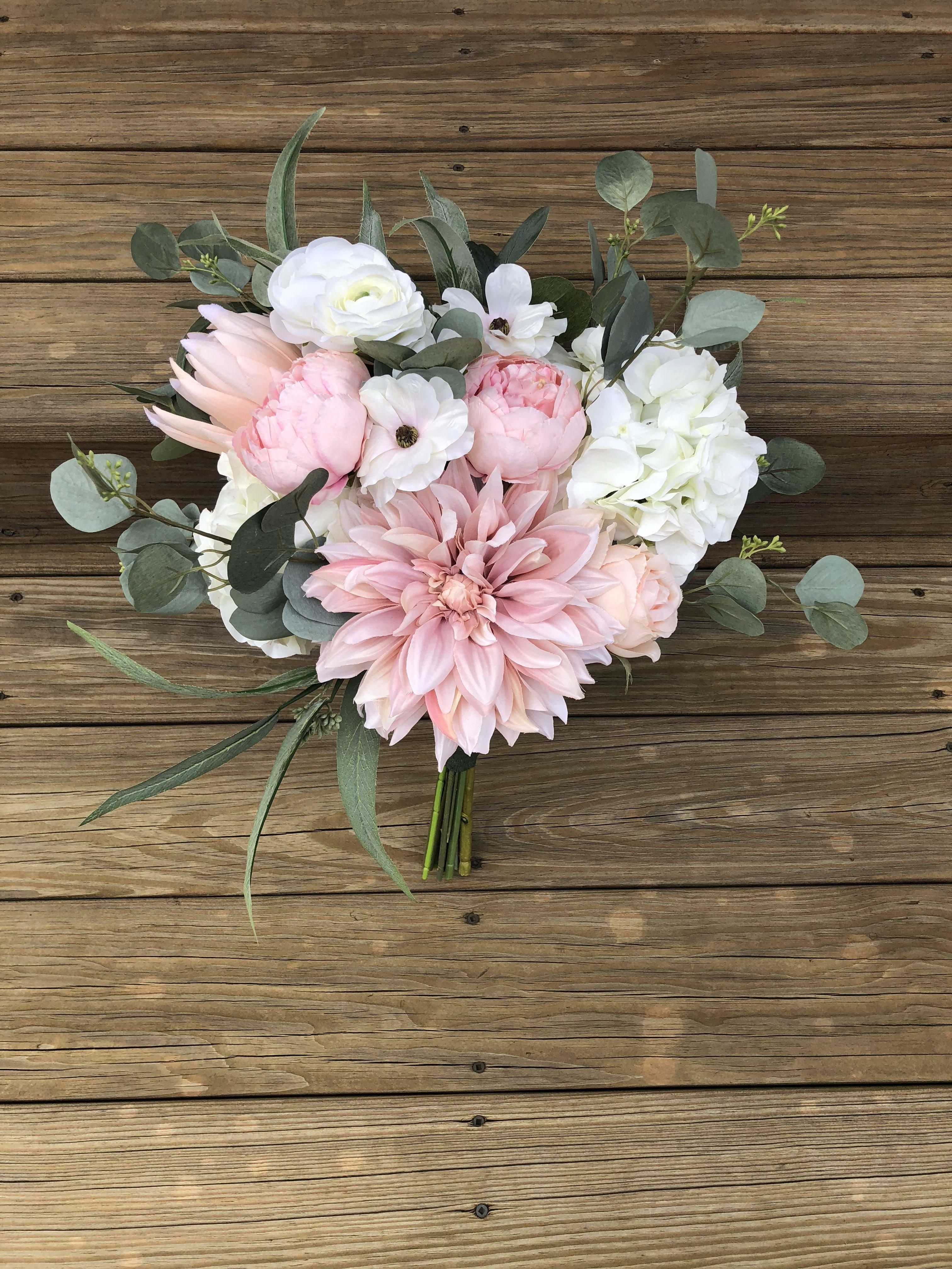 Pink Dahlia Peony Silk Bouquet Hochzeitsgestecke Rosa Pfingstrosen Bouquet Brautstrauss Rot
