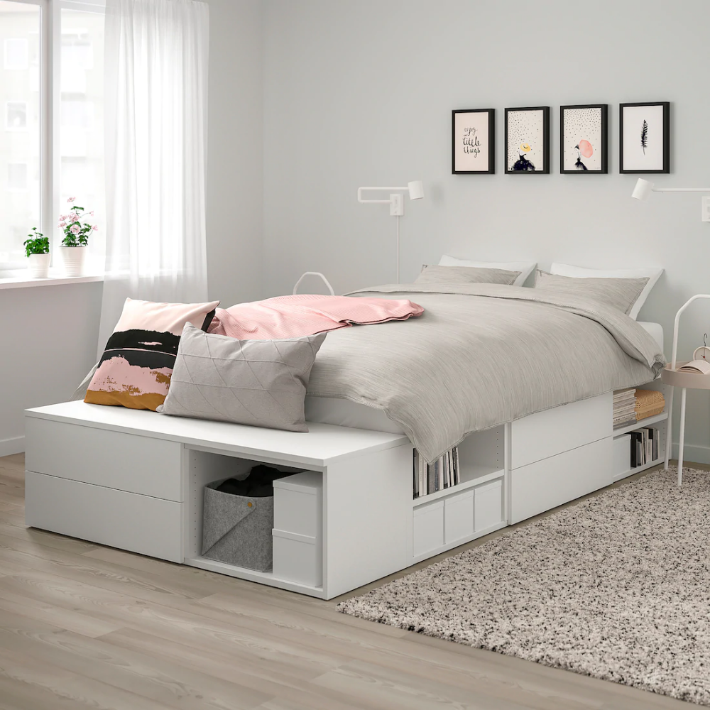 Platsa Bed Frame With 4 Drawers White Fonnes In 2020 Beds For Small Rooms Ikea Bed Bed Frame With Storage