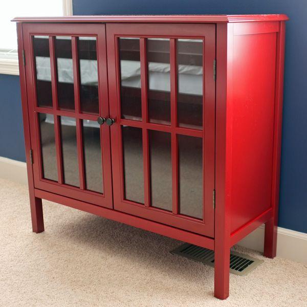 little red cabinet | glass doors, doors and nightstands