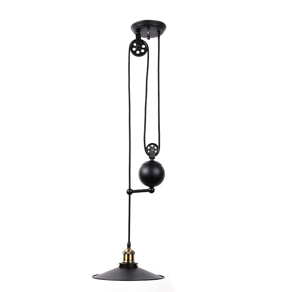 pendant lighting edison. Fuloon Edison Vintage Loft Industrial Pulley Pendant Lights Adjustable Wire Lamps Retractable Lighting (Black)