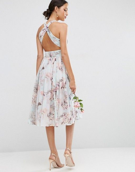 ASOS WEDDING Hollywood Midi Bridesmaid Dress in Soft Rose Print