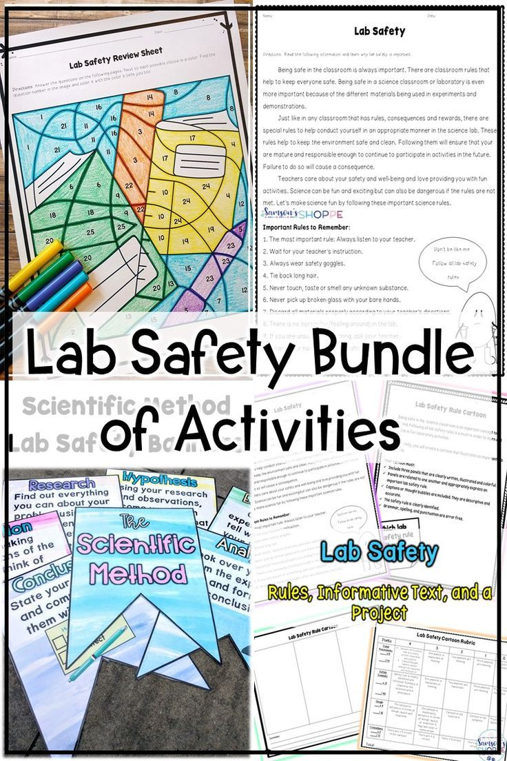Lab safety bundle of nonfiction review activities project