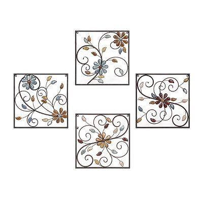 Olivia Stone Floral Square Metal Plaques, Set of 4 | Kirklands