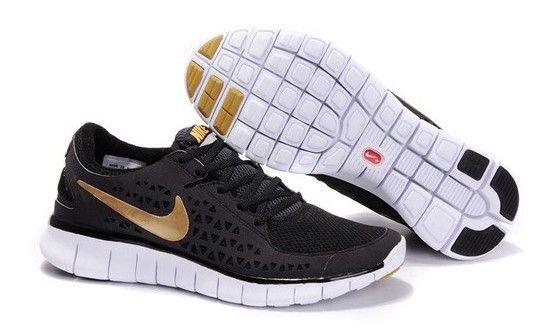 Mens Nike Free Runs Black Gold Shoes [Tiffany Free Runs 356]-$53.88 oooooooo