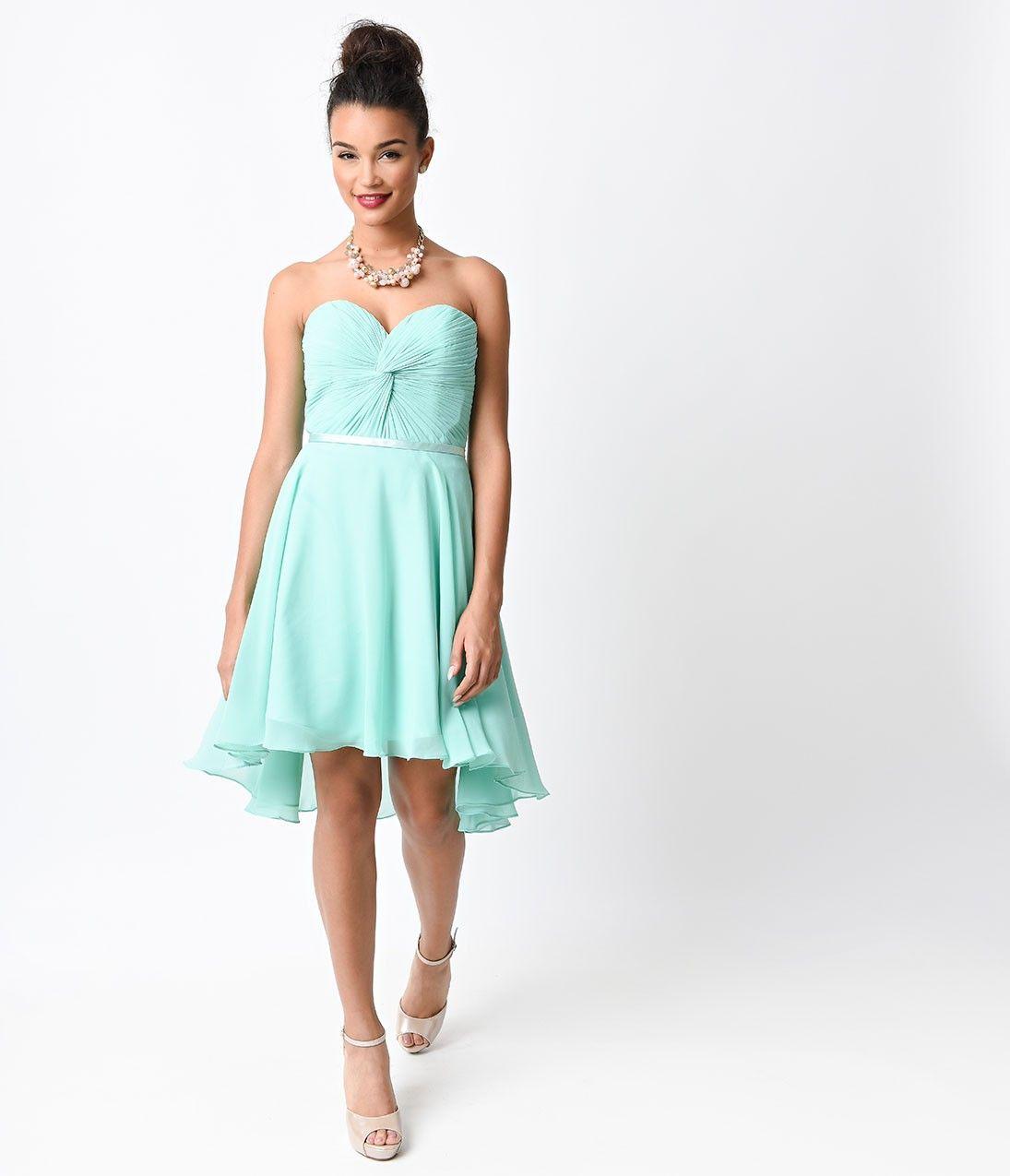 Mint chiffon strapless sweetheart corset short dress vintage