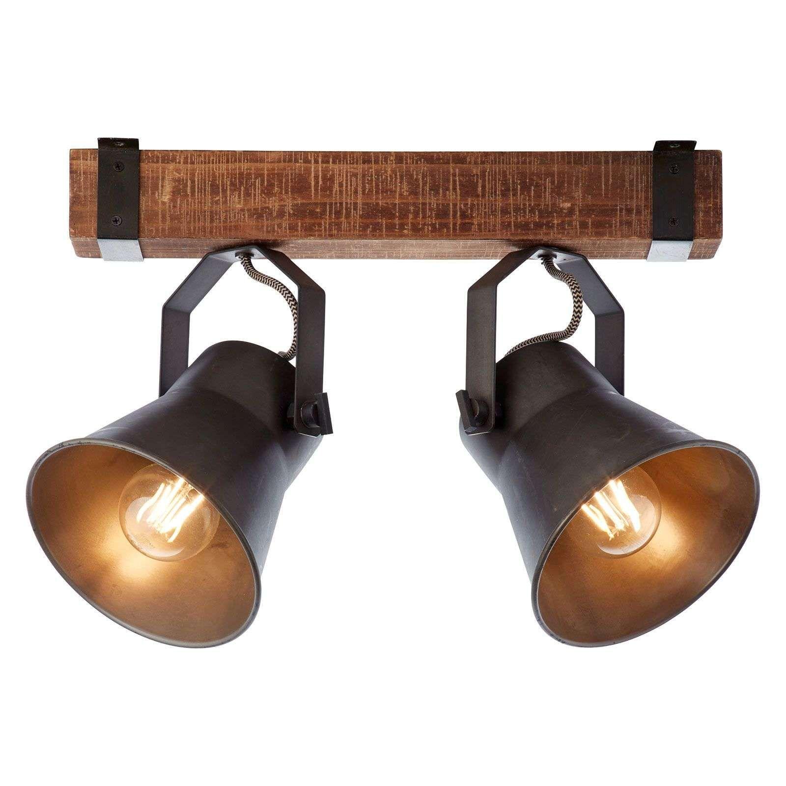 Faretti E Spot Da Soffitto faretto da soffitto plow, nero e legno scuro di brilliant