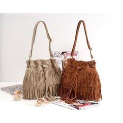 Online Shop K024 Faux Suede Fringe Tassel Shoulder Bag fashion brief vintage tassel bucket bag drawstring bag women's Messenger handbag|Aliexpress Mobile