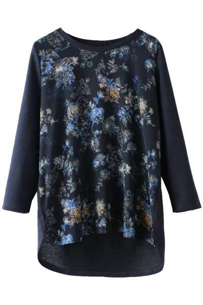 Chic Floral Blue Sweatshirt - OASAP.com