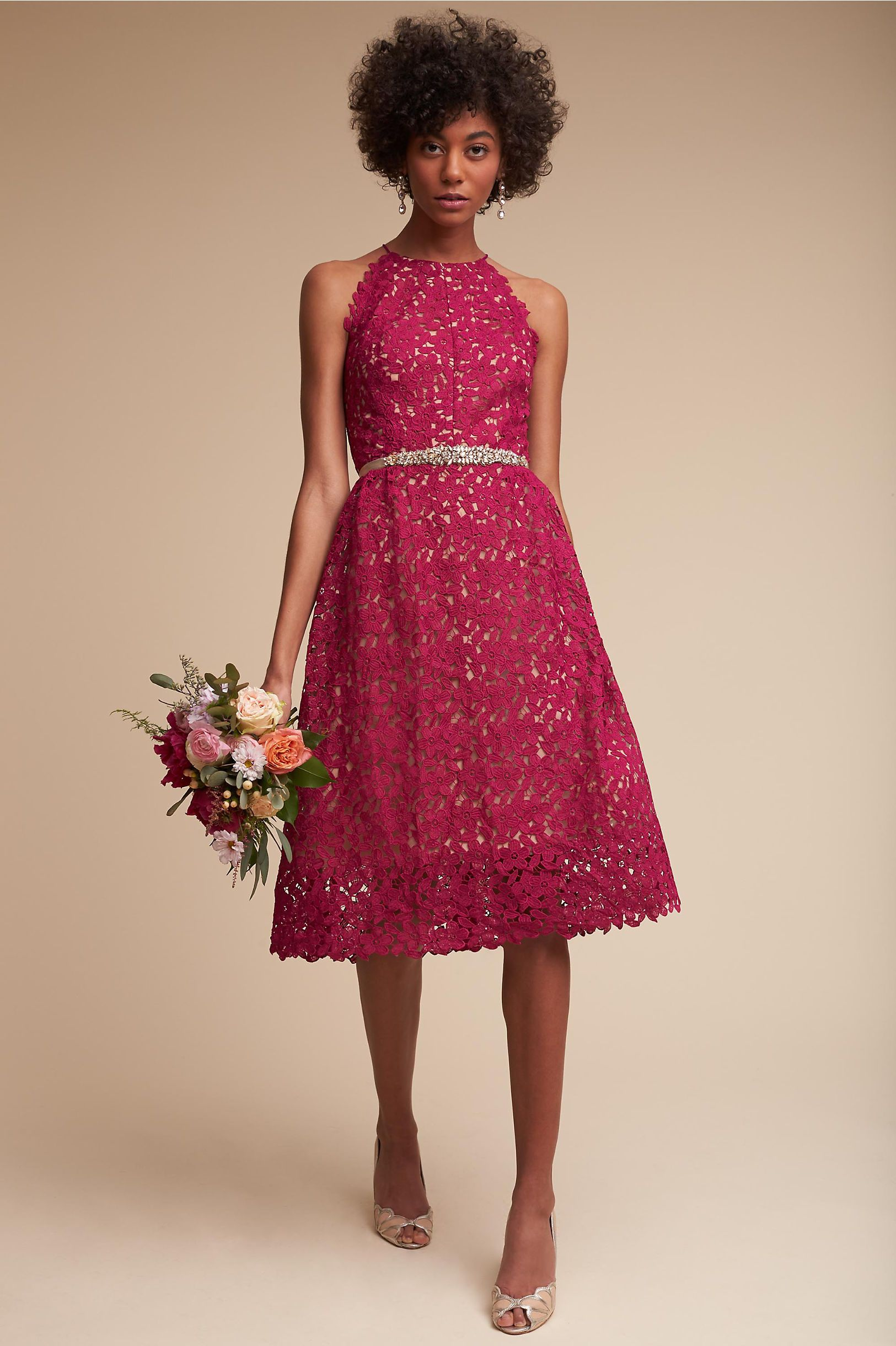 Bhldnus hitherto james dress in fuschia bridal parties