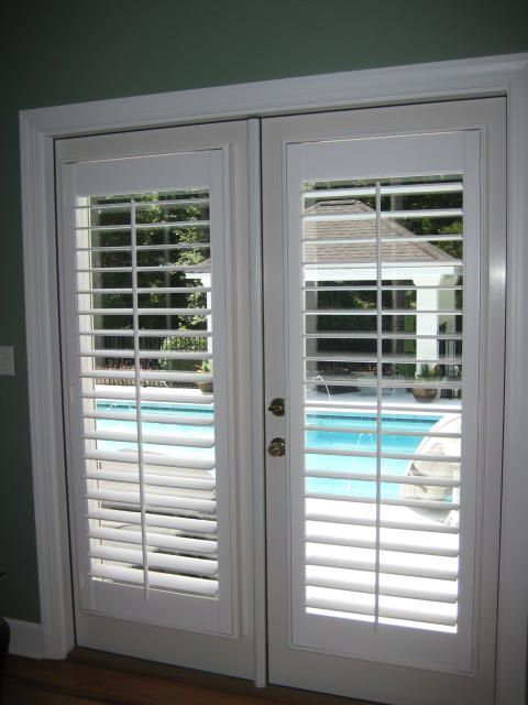 plantation shutters on french doors google search. Black Bedroom Furniture Sets. Home Design Ideas