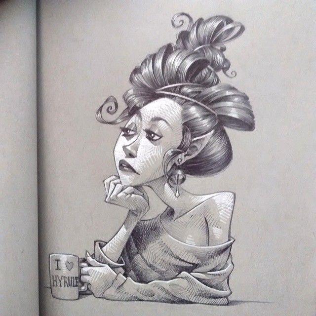 Sunday Sketch: elf on Monday morning after daylight saving. #kkeeleart #KKeeleSketchbook #daylightsavingsucks