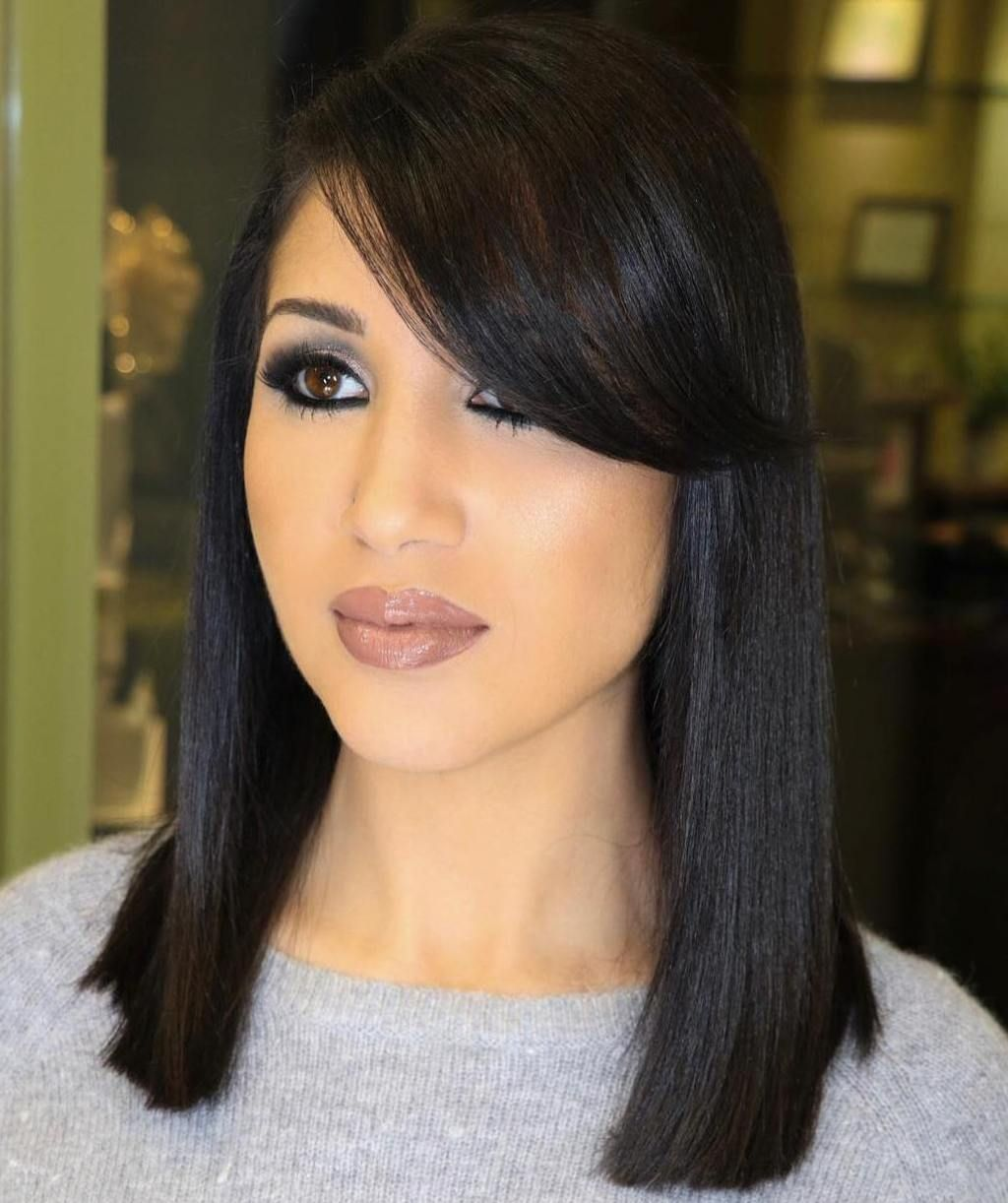 20 Modern Ways To Style A Long Bob With Bangs In 2020 Lob Haircut With Bangs Side Bangs Hairstyles Bob With Bangs