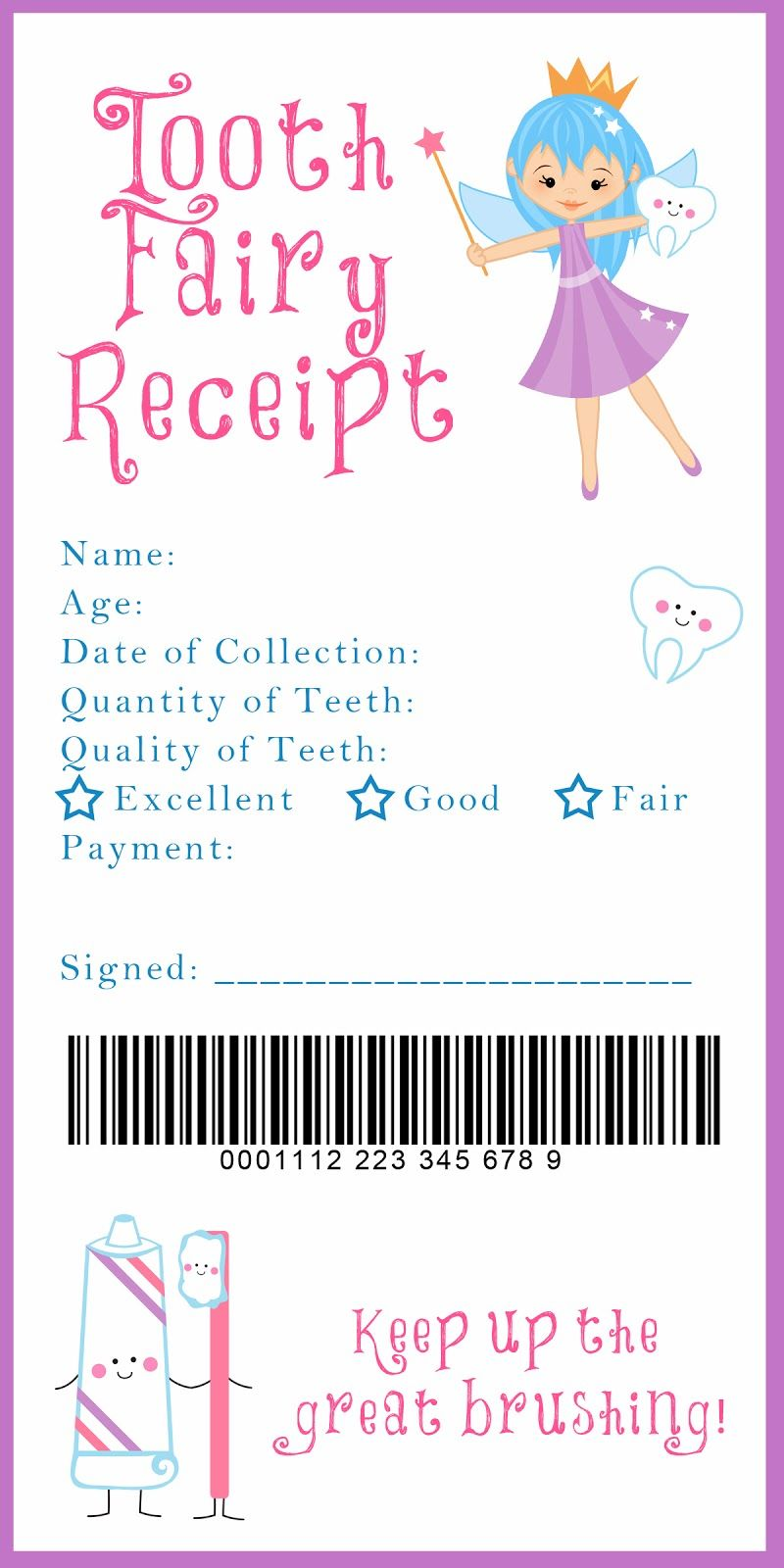 graphic about Tooth Fairy Letter Printable titled Teeth Fairy Receipt and countless other remarkable printables Little one
