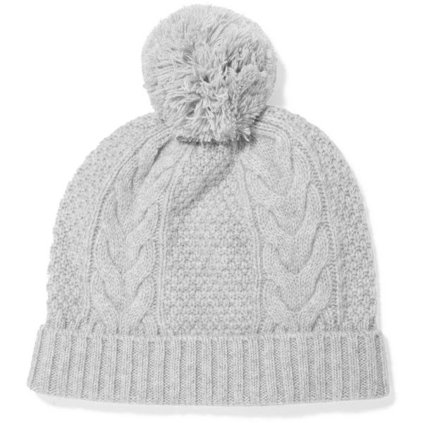 9a539fd5677 N.PEAL Pom pom-detailed cable-knit cashmere beanie ( 66) ❤ liked on  Polyvore featuring accessories