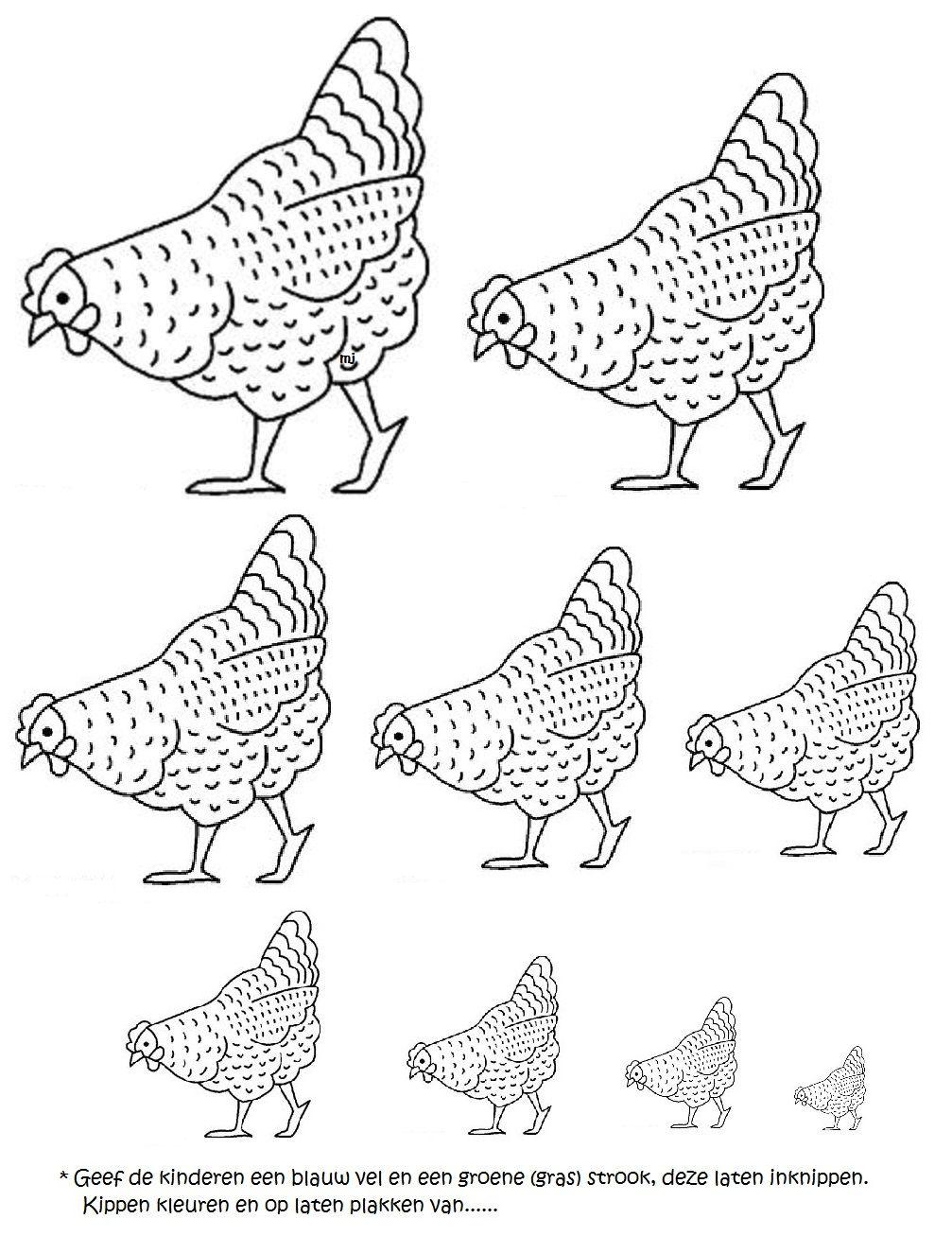 Kippen van groot naar klein-klein naar groot... | Knutselen pasen ...